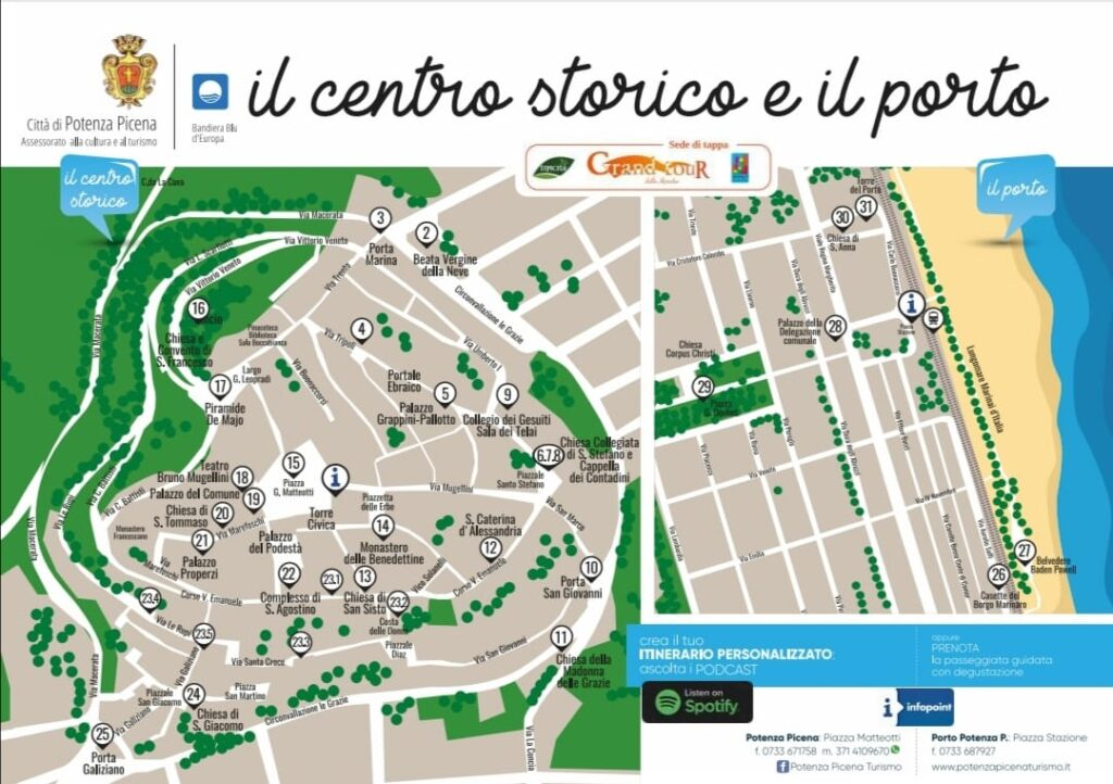 map of the historic center and the port with the places where you can listen the audio description